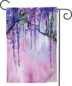 C COABALLA Abstract Flowers Painting.Spring Purple Wisteria with Bokeh,Welcome Garden Flag Double Sided Outdoor Decoration 12.5''x18''