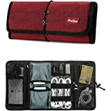 ProCase Accessories Bag Organizer, Electronics Gadgets Travel Gear Organize Case, Cable Management Hard Drive Bag, Healthcare Kit and Cosmetics Bag - Red