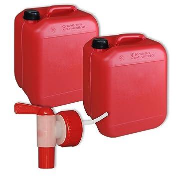 Lotede 2 bidones de polietileno /Jerrycan 10 L Rojo DIN45 + 1 grifo aeroflow calidad