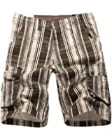 NiSeng Herren Karierte Cargo Bermuda Shorts - Slim Fit Karo Shorts Kurze Hose