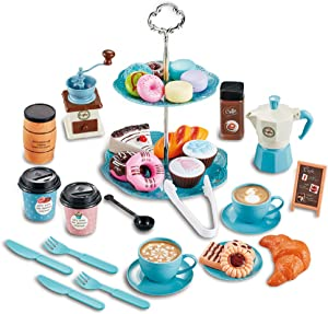 Noetoy Tea Set for Little Girls, 37 Pcs Kids Tea Set Pretend Play Toy with Food Sweet Dessert Playset, Princess Tea Party Time Kitchen Pretend Play (Tea Set)