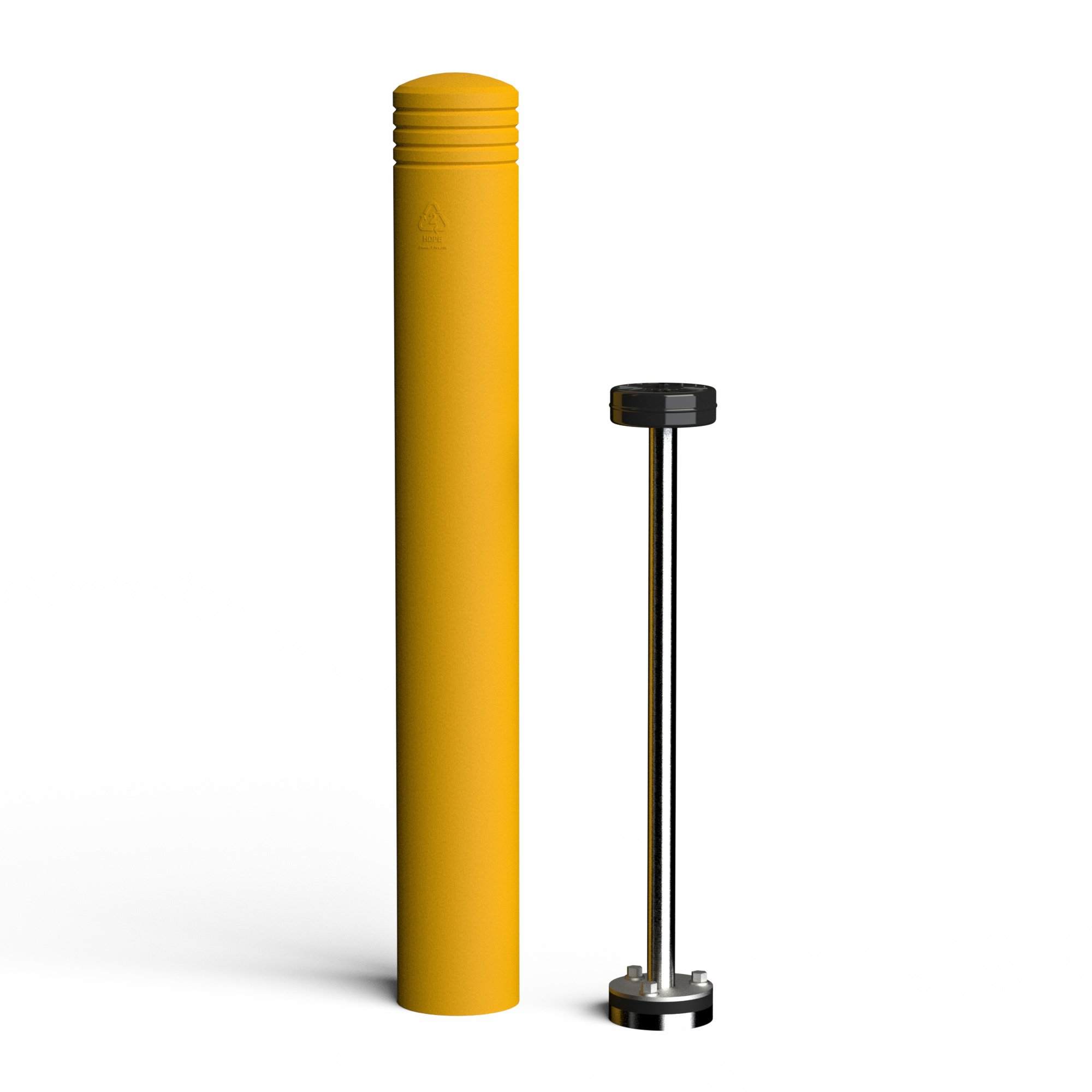 McCue FlexCore Bollard 6, Surface Mounted Shock Absorbing Bollard, CSFCB-6-307, Safety Yellow