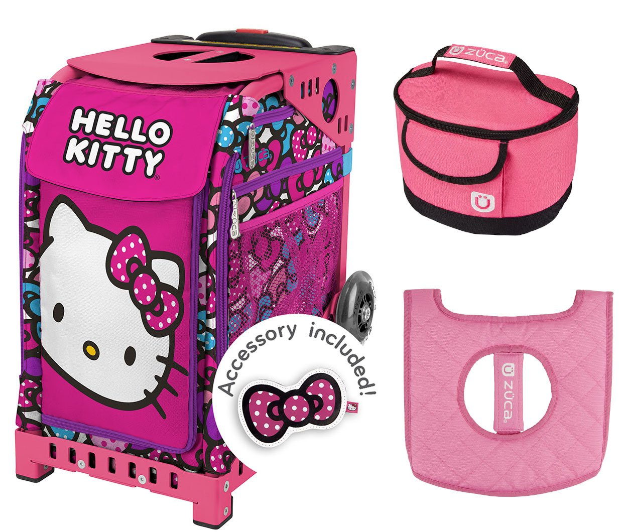 Zuca Hello Kitty Bow Party Sport Bag & Pink Frame w Lunchbox and Seat Cushion by ZUCA