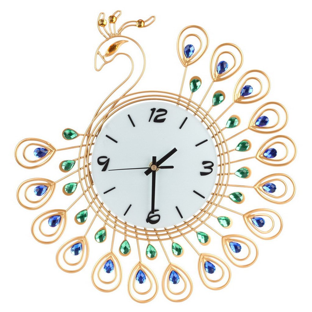 HittecH Creative Peacock Large Wall Clock Metal Living Room Watch Home Office Decoration Gold