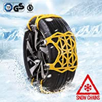Confezione da 6,(Giallo) Kazeila Catene da Neve Universali Catene Anti-Slittamento per Automobile SUV per Gomme di Dimensioni 165-285mm
