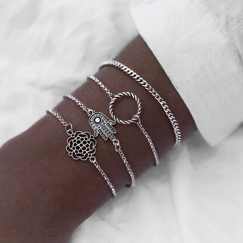 FineMe Moon Shell Link Bracelets Set Adjustable Charm Stackable Beaded Bracelet for Women Girls
