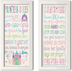 Gango Home Décor Adorable Princess Rules and A True Princess Set; Great for a Child's Room or Nursery; Two White Framed 8x18in Prints; Ready to Hang!