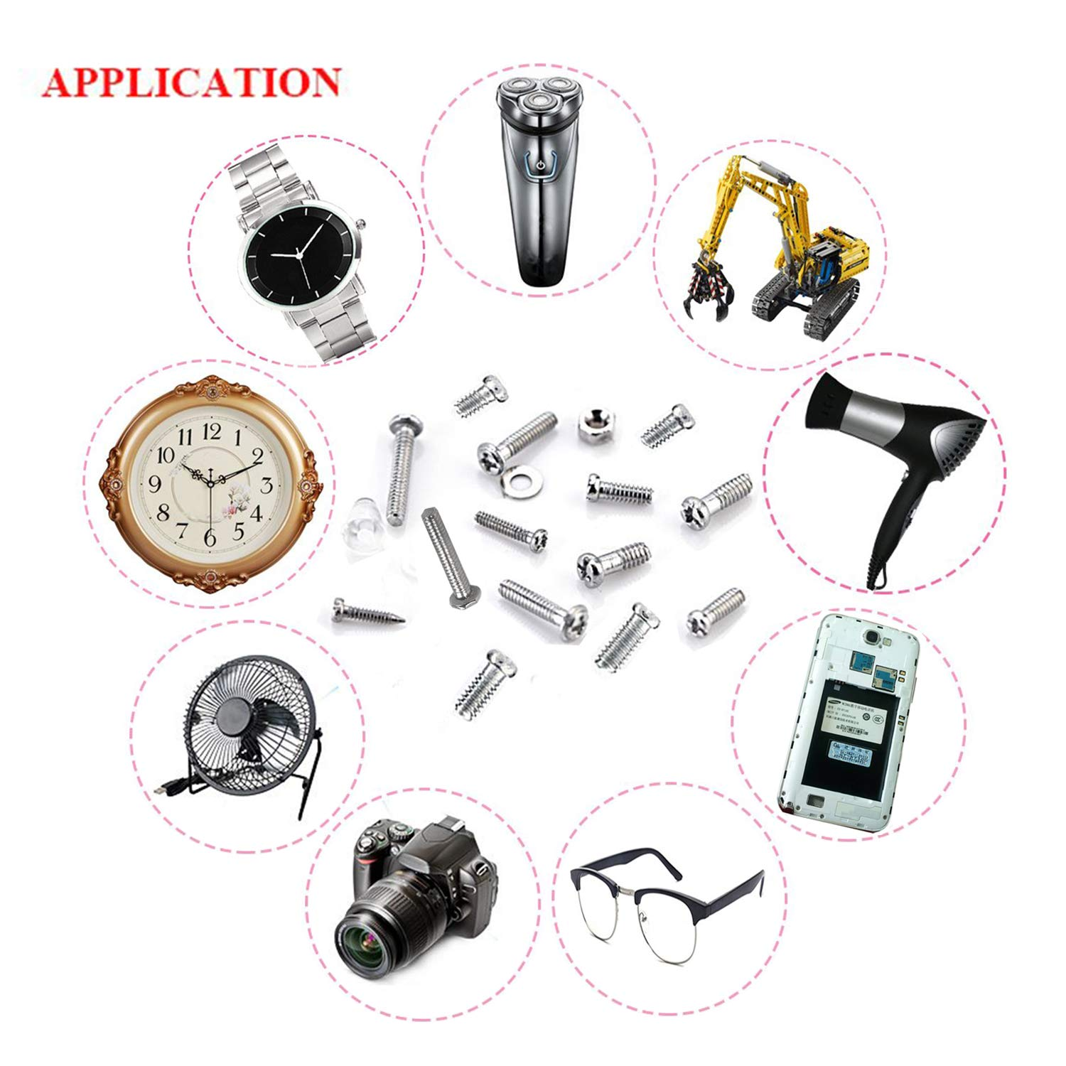 Eyeglass Repair Tool Kit Hotetey 1000PCS Tiny Repair Screws & Nut Assortment Tool Kit with Tweezers and Mini 4 in 1 Screwdriver Keychain for Spectacles Glasses Cellphone Watches