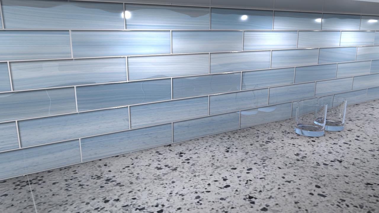 Big Blue Glass Subway Tile for Kitchen Backsplash or Bathroom ...