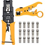 Proster Crimping Tool Set Wire Terminal Crimper with Wire Stripper Wire Cutter And 15 F-Type Connector Adjustable Connector F/ BNC/ RCA Cable Coaxial/ Network/ UTP/ STP Cable RG 59/ 6 RG 7/ 11