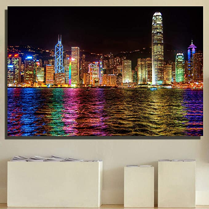 a noche del edificio de la ciudad moderna China Hong Kong Victoria Harbour Impresión en lienzo de póster Paisaje de pared Cuadros para sala de estar Pósters e impresiones de pared Decoración