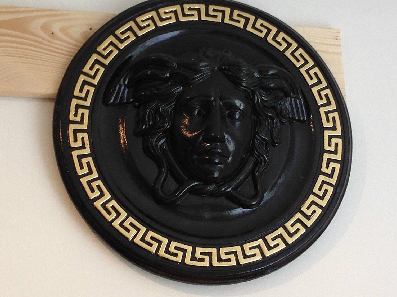 3D Relief Relief Medusa M?andre mural Image image num?rique T?te Serpent Noir//dor?