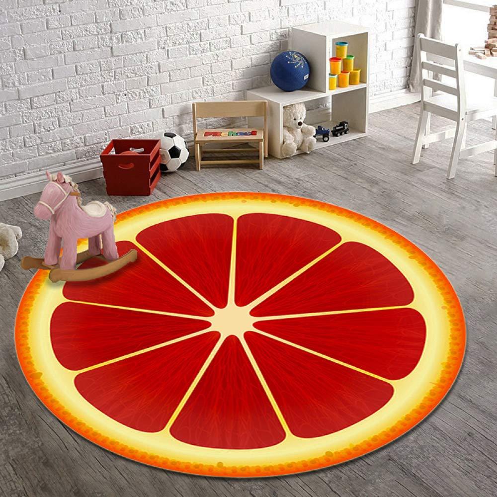 YIWAN Estera de Alfombra Redonda de Frutas Modelo de Sala de Estudio Estera de Yoga Almohadilla Absorbente Antideslizante Tomate 60 cm di/ámetro