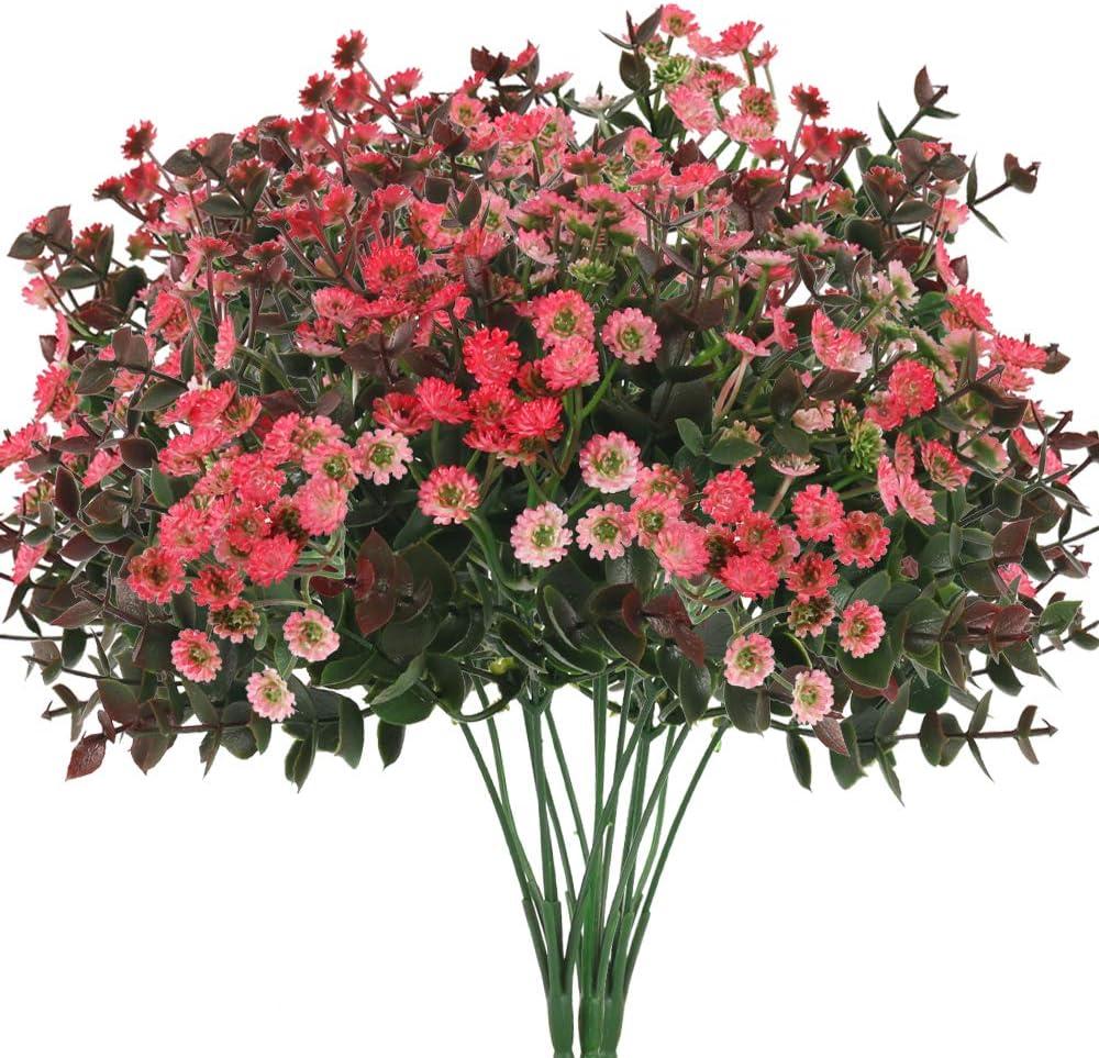 XHXSTORE 3pcs K/ünstliche Blumen G/änsebl/ümchen Kunstblumen Eukalyptus K/ünstlich Kunstpflanzen Plastikblumen Unechte Blumen Deko f/ür Balkon Garten Innen Topf Vase Dekoration