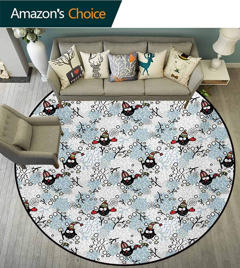 RUGSMAT Owls Small Round Rug Carpet,Wintertime Pattern with Cute Characters and Snow Flowers Stars Doodle Style Xmas Theme Door Mat Indoors Bathroom Mats Non Slip,Diameter-71 Inch by RUGSMAT (Image #3)