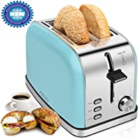 2-Slice-Toasters Bread Stainless Steel Compact Toaster Extra-Wide-slots for Household Kitchen Breakfast Bagle Defrost Cancel Function Upgrade Toaster Muffins, Waffles and Bread(Blue)