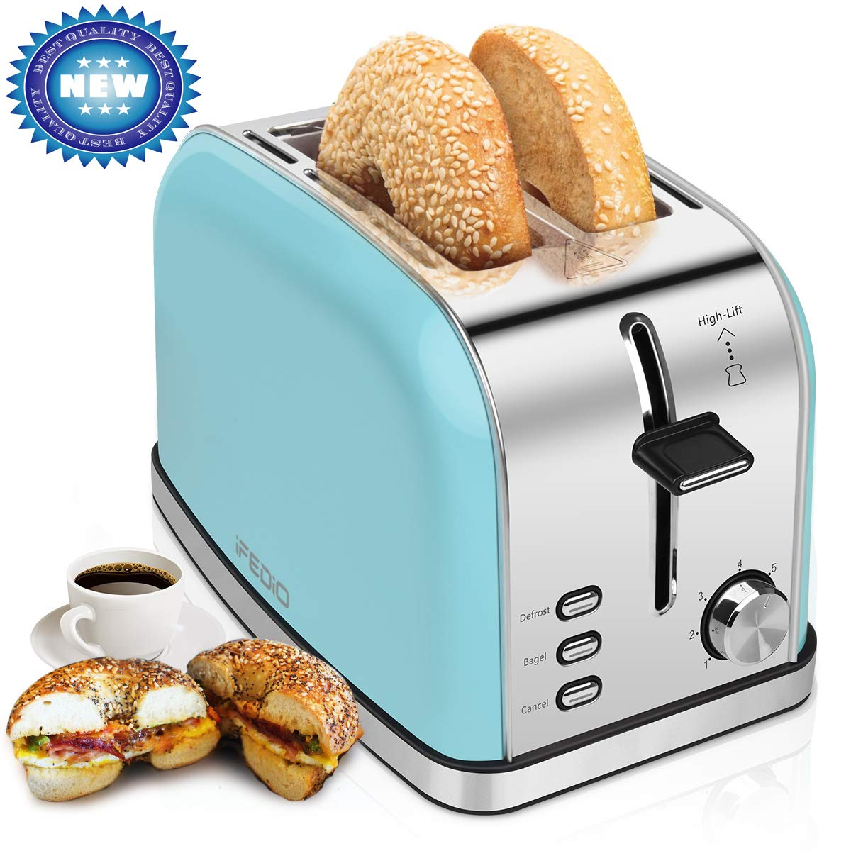 2-Slice-Toasters Bread Stainless Steel Compact Toaster Extra-Wide-slots for Household Kitchen Breakfast Bagle Defrost Cancel Function Upgrade Toaster Muffins, Waffles and Bread(Blue) by iFedio