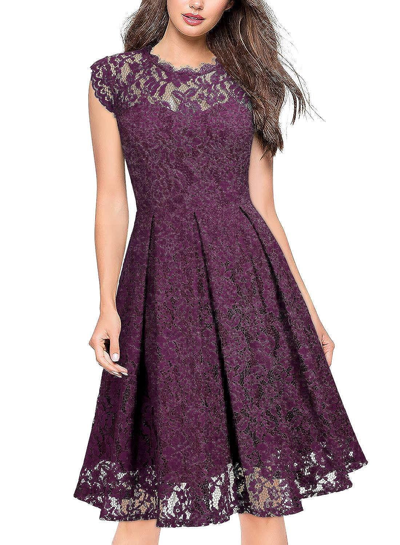 Miusol Women's Retro Floral Lace Slim Evening Cocktail Party Dress QF3267