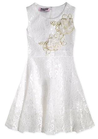 43925e2f8a62 Girls Sleeveless Lace Overlay Party Dress White 5-6 Years  Amazon.co ...