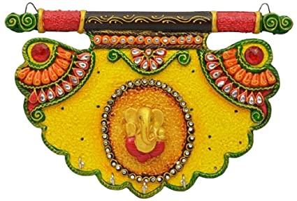 Crafticia Craft Embosed Rajasthani Handicraft Traditional Wooden Lord Ganesha Pankhi Paper Mache Key Holder