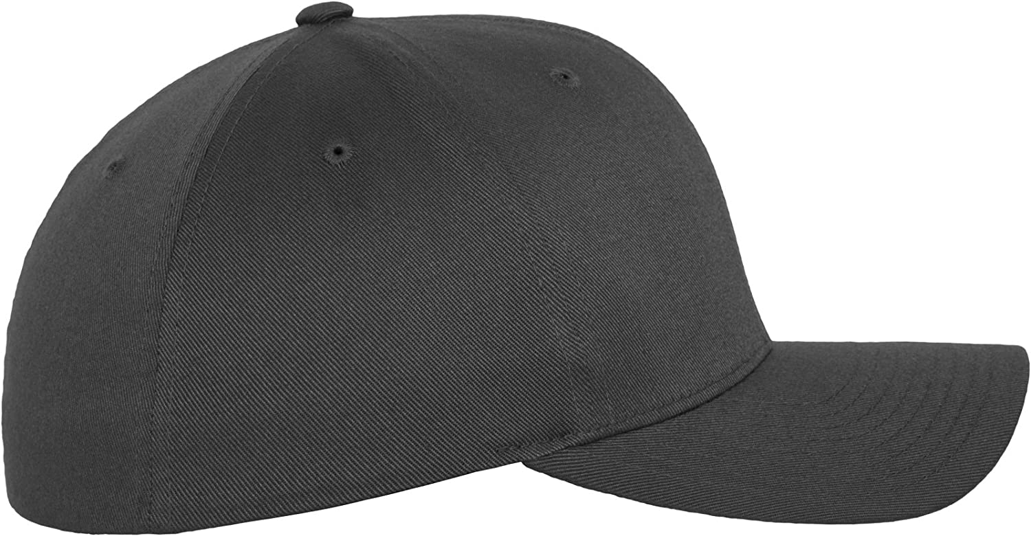 Flex fit Dark Grey Wooly Combed Stretchable Fitted Cap Kappe Baseballcap Basecap