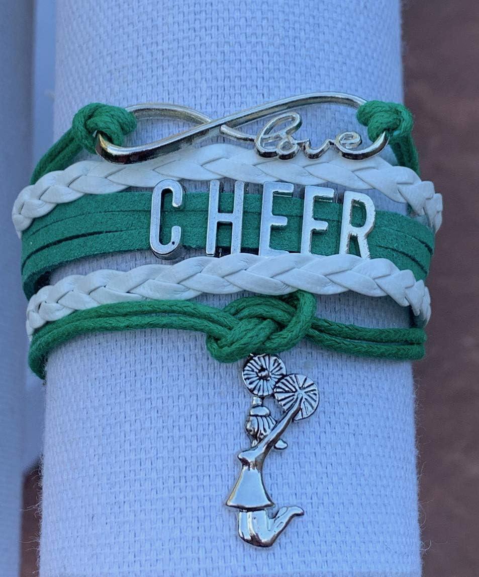 Orange//Black Girls Infinity L8ve Adjustable Cheerleading Jewelry in Team Colors for Cheerleader Sportybella Cheer Charm Bracelet