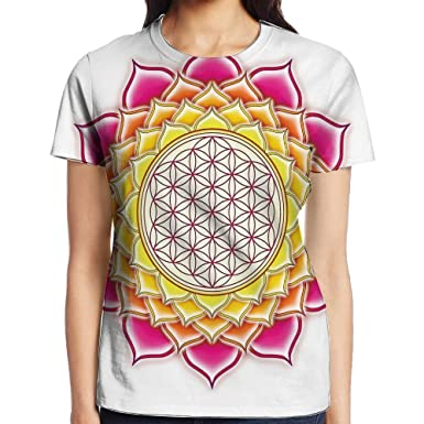 a80eabff9b WuLion Flower of Life Sacred Geometry Pattern Inside Lotus Petals Yoga Zen  Image Women's 3D Print T Shirt White at Amazon Women's Clothing store: