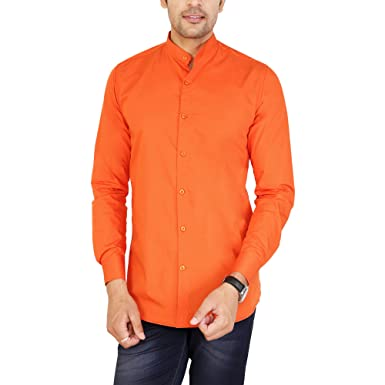 f28e8f39e32 U-TURN Men s Cotton Solid Chinese Collar Shirt  Amazon.in  Clothing ...