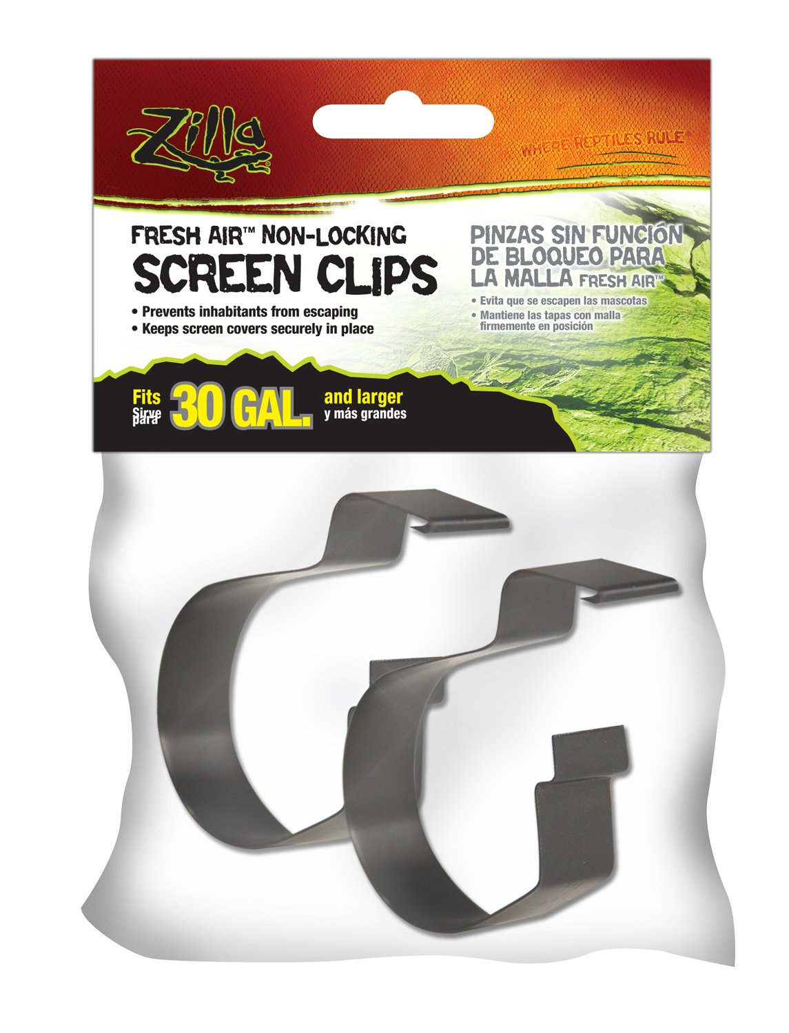 Zilla Reptile Terrarium Covers Non-Locking Screen Clips, 30G+, 2-Pack