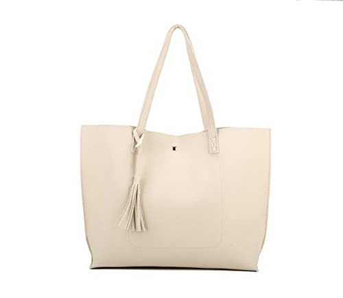 b866d0193bf8 Amazon.com  Nodykka Women Tote Bags Top Handle Satchel Handbags PU Pebbled  Leather Tassel Shoulder Purse (Beige)  Shoes