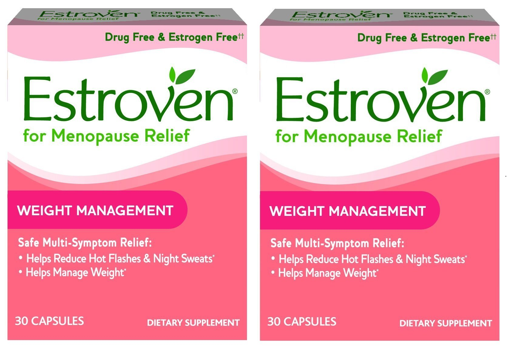 Estroven Weight Management - Multi-Symptom Menopause Relief* - With Ingredients to Help Reduce Hot Flashes and Night Sweats* - 30 Capsules - Pack of 2 by Estroven