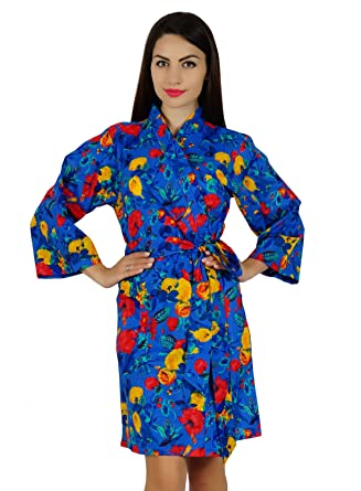 bca24274ee Bimba Women Bridesmaid Gift Short Cotton Robe Getting Ready Floral Wrap  Coverup