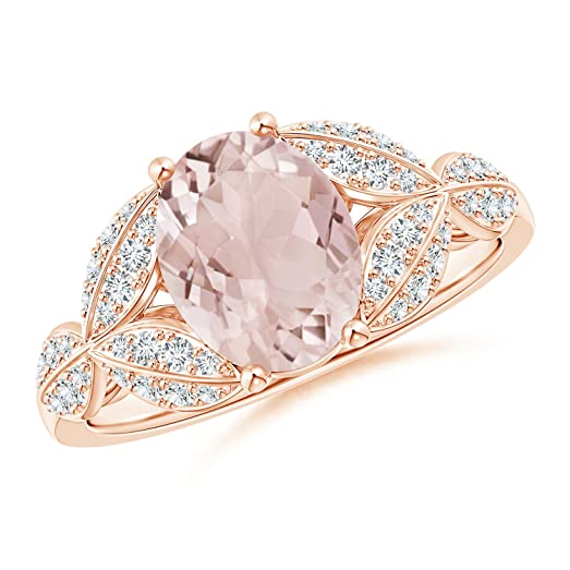 Angara Pink Sapphire and Diamond Trillium Petal Flower Ring Hrwm0