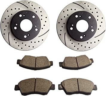 Front Brake Rotors Ceramic Pads Drilled /& Slotted Kit For Acura RSX Honda Civic