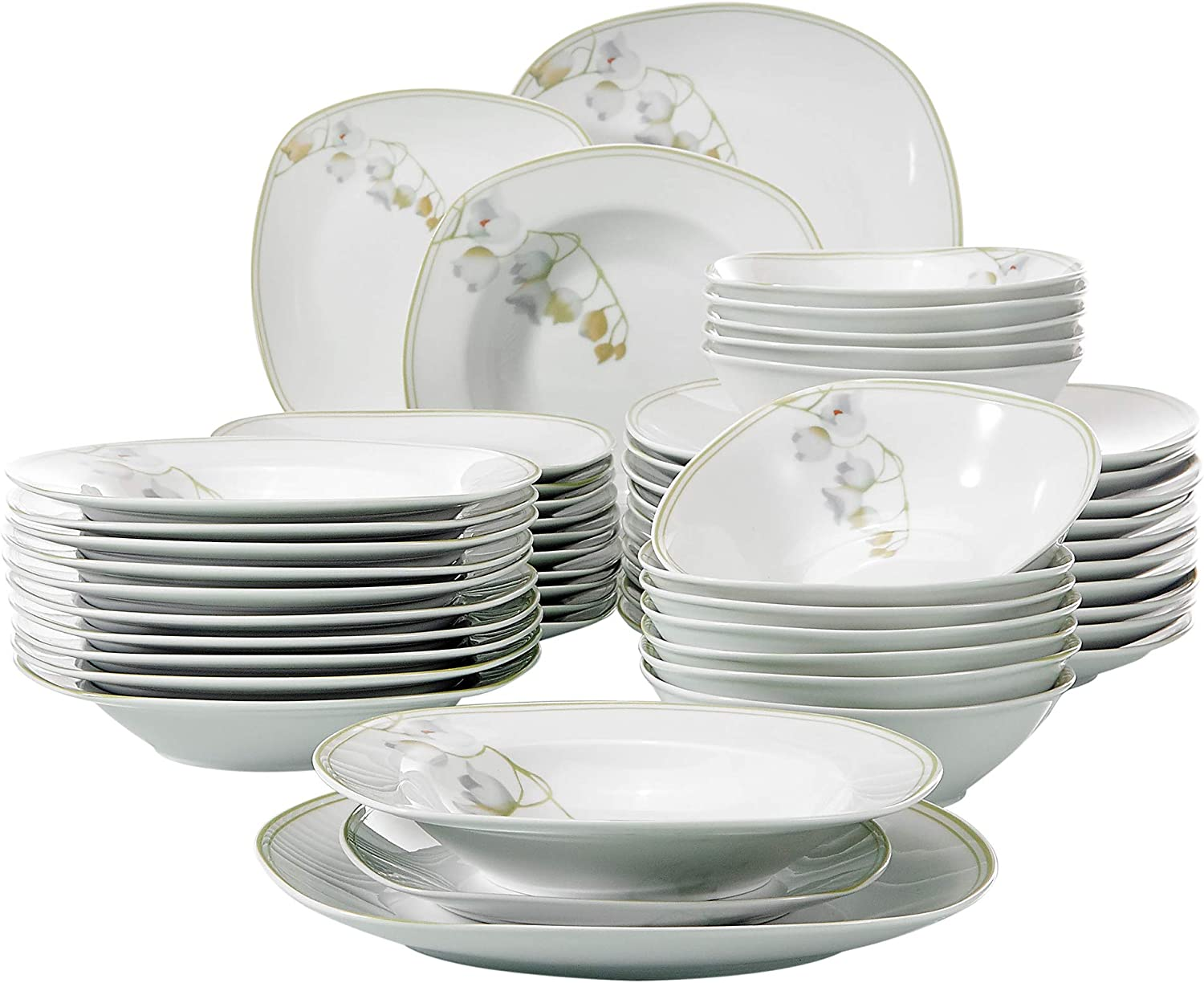 VEWEET Emily 48-Piece Ivory and Green Dinner Set Porcelain Bellflower Tableware Set with Bowls Dessert Plates Soup Plates Dinner Plates Service for 12