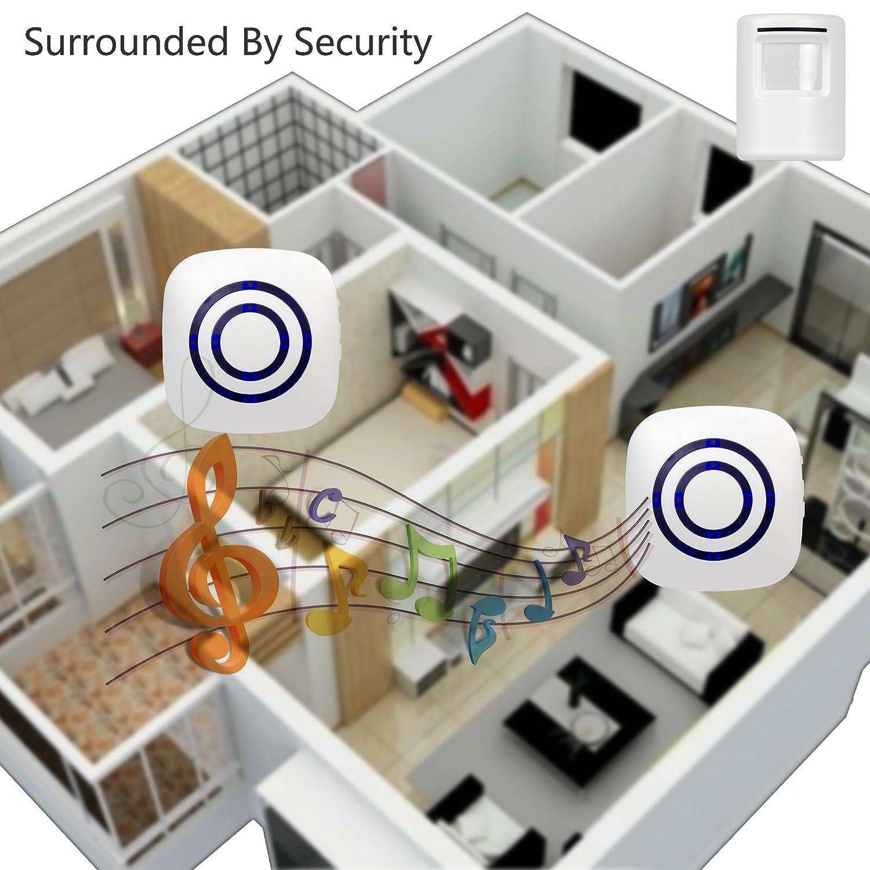 SimLife Driveway Alert Wireless Motion Sensor Alarm Home Security System 2 PIR Detectors 1 Plug-in Receiver 38 Adjustable Melodies LED Indicators Door Window Open Chime Perimeter Yard Garage Gate