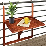 Table de balcon suspendue - 64x45x87cm - bois acacia - pliable