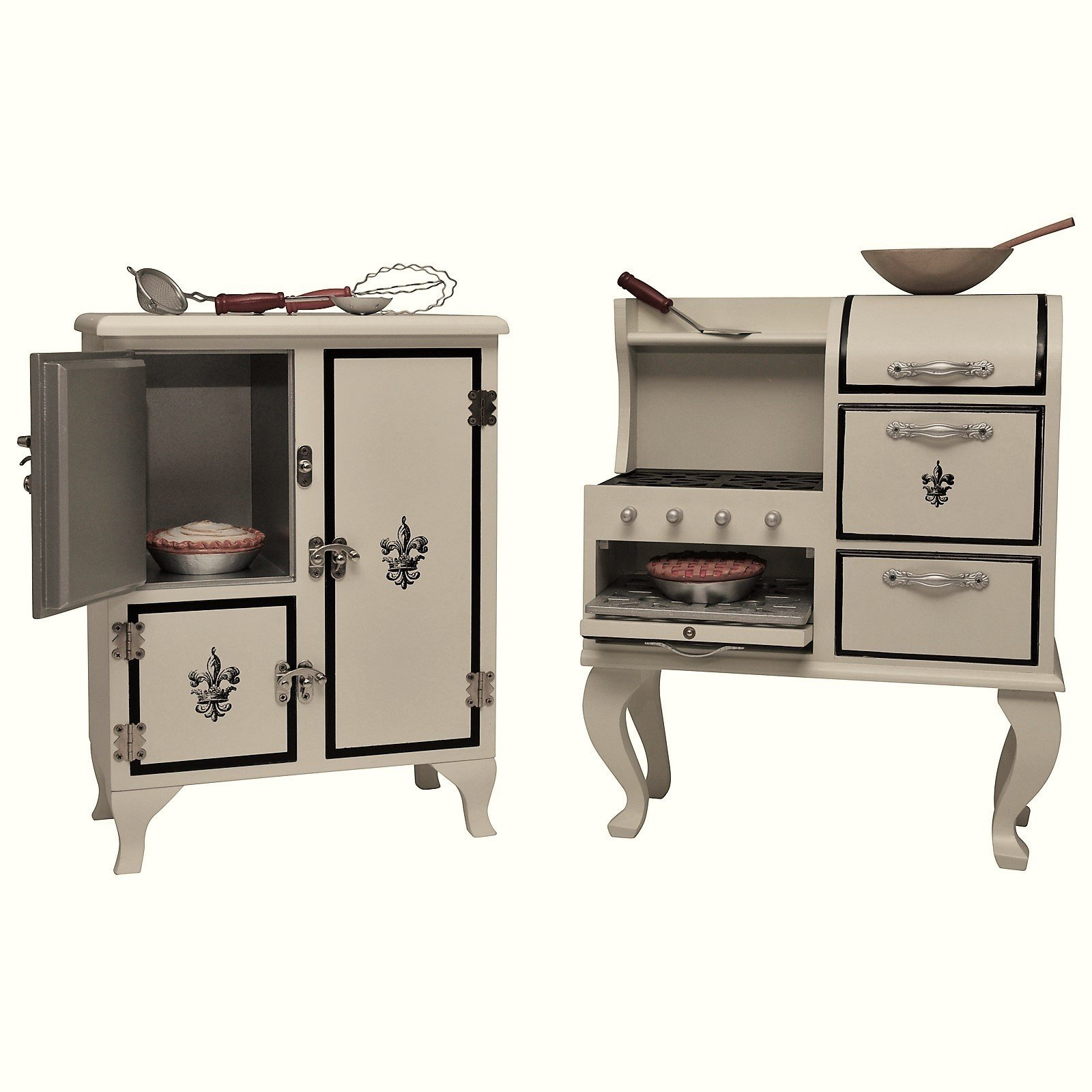 The Queen's Treasures American Vintage Stove & Fridge Wooden Furniture +Kitchen Tool & Food Accessory Play Set for 18 Inch Girl Dolls