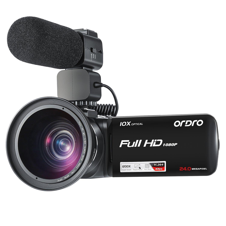 Cámara de Video Videocámara ORDRO Z82 Cámara de Video con Zoom óptico 1080P 10x Videocámaras con micrófono y Lente Gran Angular