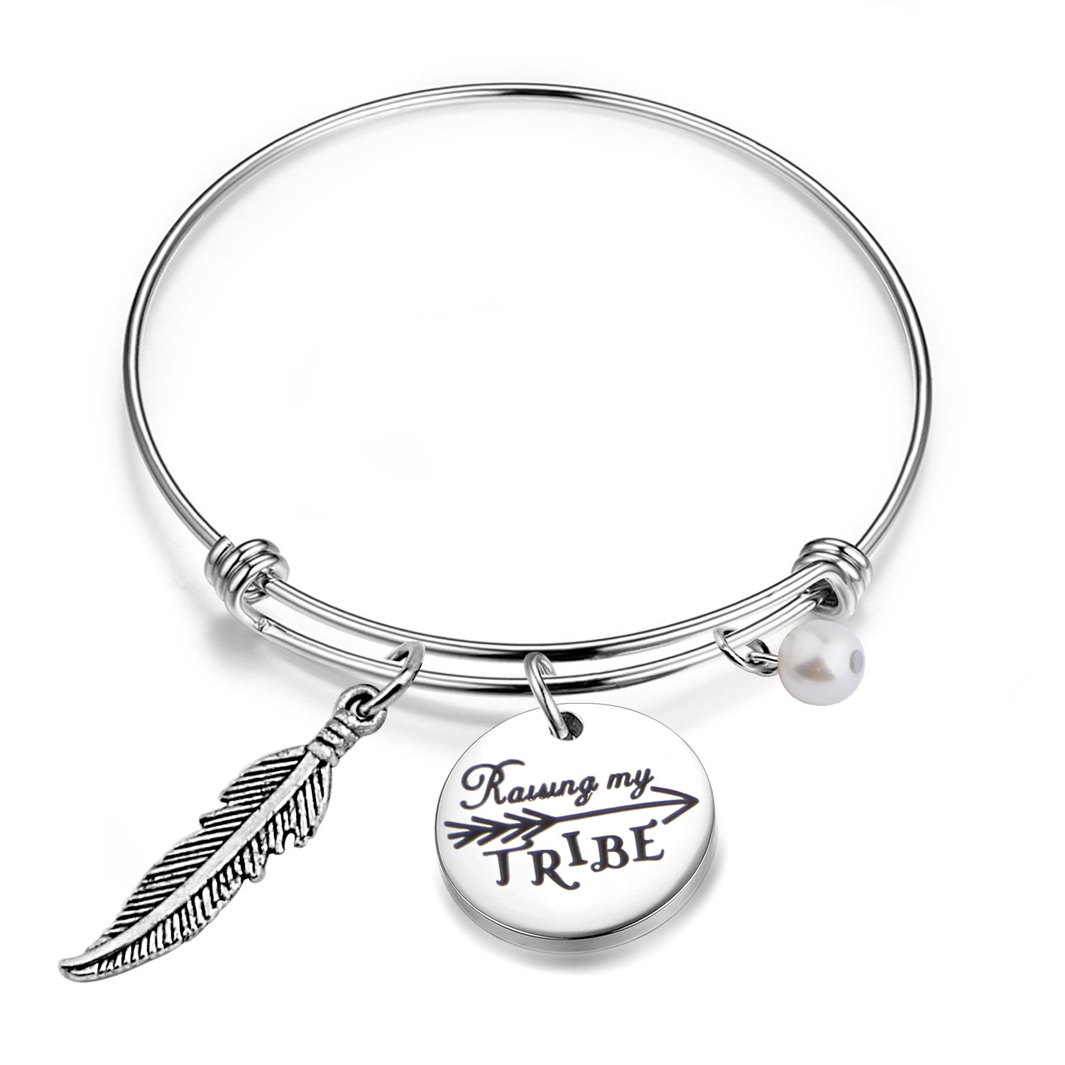 BNQL Raising My Tribe Charm Bracelet for Mom Mother of Multiple Kids Gift
