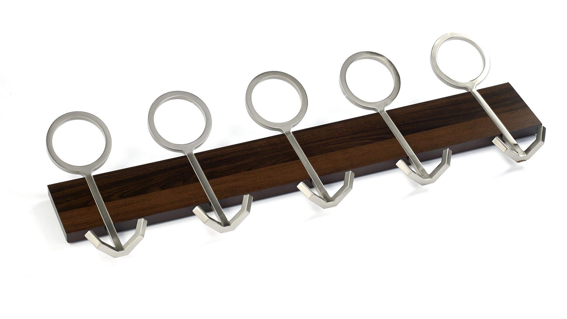 Richelieu Hardware RH1334165195 Contemporary Hook Rack, Brushed Nickel/Mocha Finish