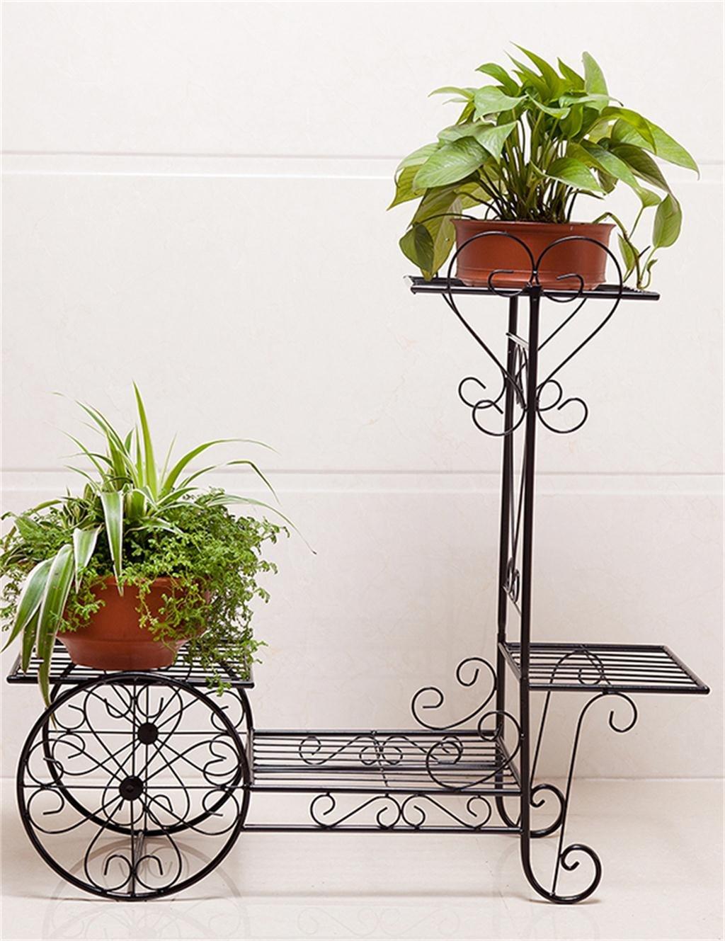 Continental Iron Fahrrad-Modelle Boden Flower Pot Regal, grün Dill hängende Orchidee Rack, Pflanzen stehen für Innen-, Wohnzimmer, Balkon ( farbe : Schwarz , größe : L )
