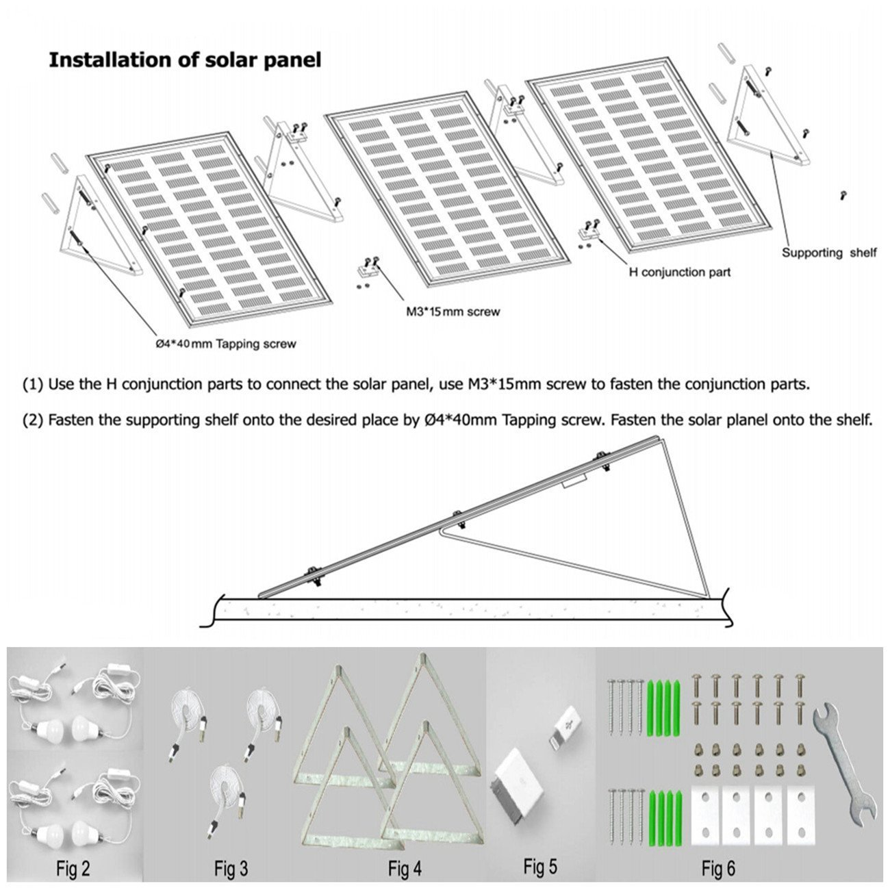 GMFive 30W Panel Solar Home System Kit Including Cell Phone Charger/& 4 LED Strong Light Bulbs /¡/