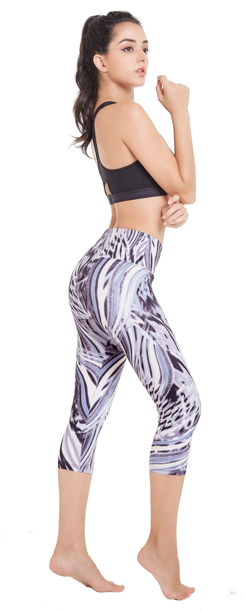 Picotee Women's Printed Yoga Pants Workout Running Capri Leggings w Hidden Pocket (Feather, M)