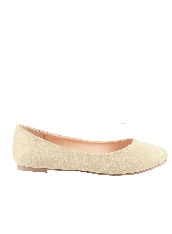 Chase & Chloe Ami-1 Round Toe Classic Ballet Flat B078X2VTBD 8.5 B(M) U.S|Nude Suede