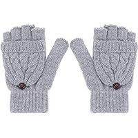 FRCOLOR 1pc Womens Half Finger Gloves Practical Half Finger Winter Warm Wool Knitted Gloves Mitten Hand Cover Decor
