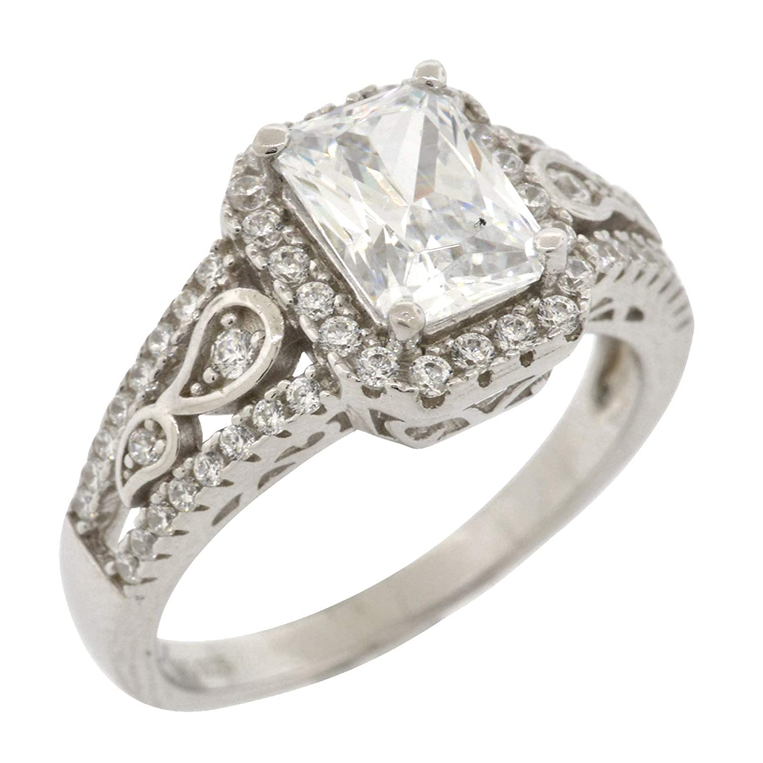 Size 8 Rhodium-Plated Sterling Silver Emerald and Round Cut Cubic Zirconia Solitaire with Halo and Accented Shank Engagement Ring