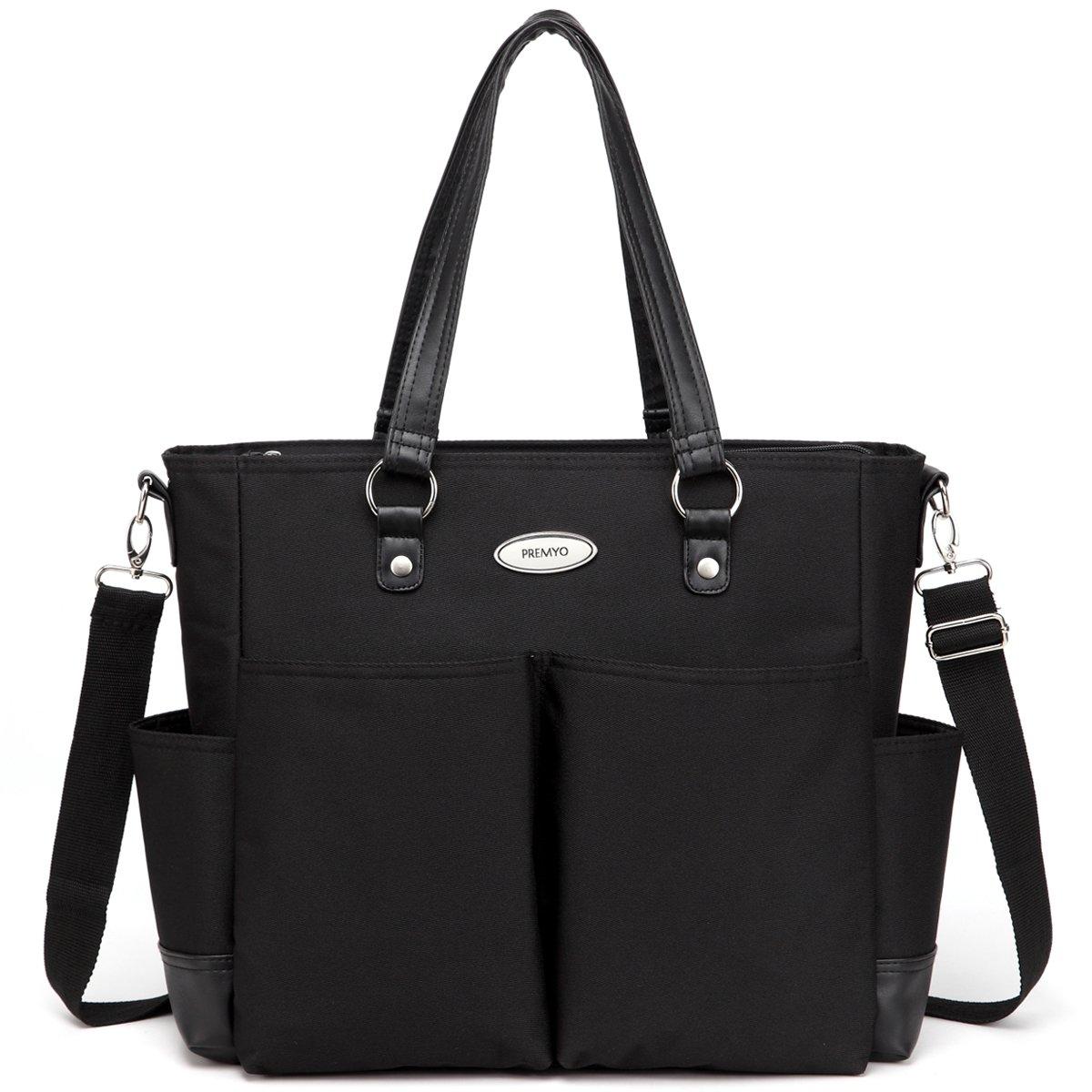 PREMYO Bolso para carrito de bebé grande en negro. Elegante bolso cambiador para carro del bebé con bolsillo isotérmico. Bolso de maternidad moderno para el cochecito con cremallera y compartimentos
