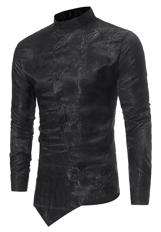 816001cbf HOP Men's Casual Irregular Hem Slim Fit Button Down Dress Shirt at Amazon  Men's Clothing store: