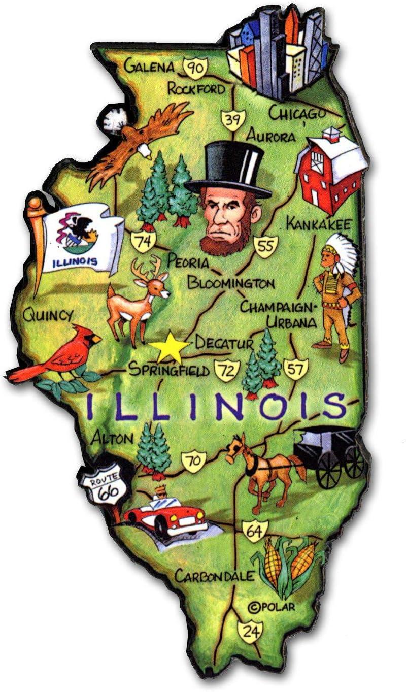 Illinois State Decowood Jumbo Wood Fridge Magnet 4.5